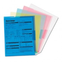 Project Jackets, Letter, Poly, Clear/Translucent: Blue/Green/Yellow/Red, 5/Pack