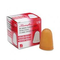 Rubber Finger Tips, Size 14, X-Large, Amber, 12/Pack