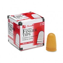 Rubber Finger Tips, Size 11 1/2, Medium, Amber, 12/Pack