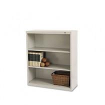 Metal Bookcase, 3 Shelves, 34-1/2w x 13-1/2d x 40h, Putty
