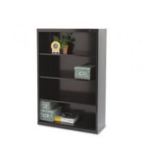 Metal Bookcase, 4 Shelves, 34-1/2w x 13-1/2d x 52-1/2h, Black