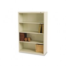 Metal Bookcase, 4 Shelves, 34-1/2w x 13-1/2d x 52-1/2h, Putty