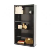 Metal Bookcase, 5 Shelves, 34-1/2w x 13-1/2d x 66h, Black