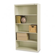 Metal Bookcase, 5 Shelves, 34-1/2w x 13-1/2d x 66h, Putty