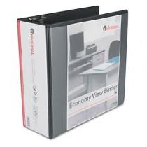 "Economy D-Ring Vinyl View Binder, 4"" Capacity, Black"