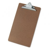 "Hardboard Clipboard, 1-1/4"" Capacity, Holds 8-1/2w x 14h, Brown"