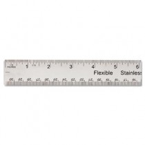 "Stainless Steel Ruler w/Cork Back and Hanging Hole, 12"", Silver"