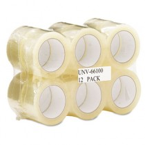 """Box Sealing Tape, 2"""" x 110 yards, 3"""" Core, Clear, 12/Pack"""