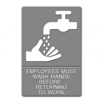 """ADA Sign, """"Employees Must Wash Hands"""" Tactile Symbol/Braille, 6 x 9, Gray"""