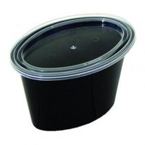Ellipso Portion Cups, 1-Comp, Black/Clear, 2oz